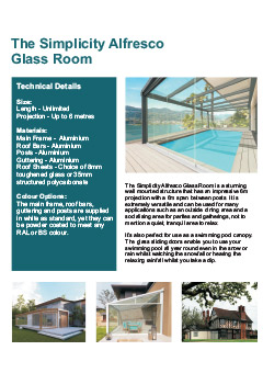 Simplicity Alfresco Glass room Datasheet