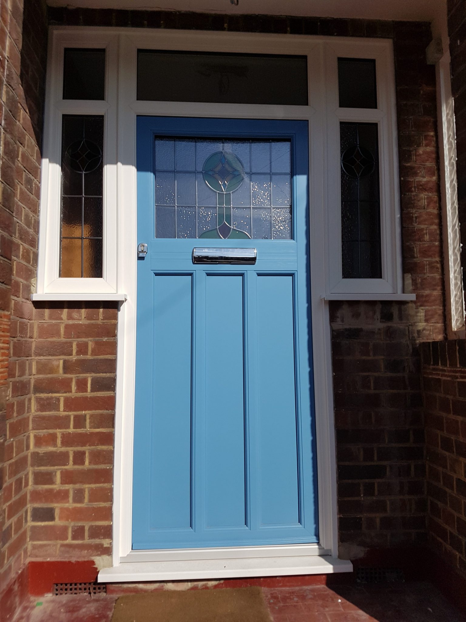 Timber Alternative door with Stained Glass & RAL Colour SE23